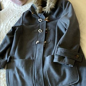 Old navy gray pea coat with fur on hood